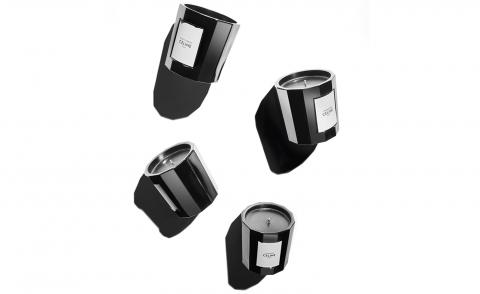 Celine candle collection designed by Hedi Slimane in black glass containers