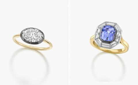 Two engagement rings in gold and diamonds