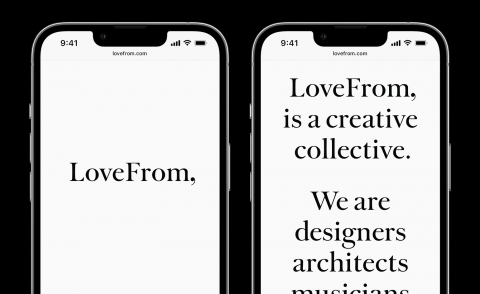 Black type on white phone screens, showing text from LoveFrom website launch