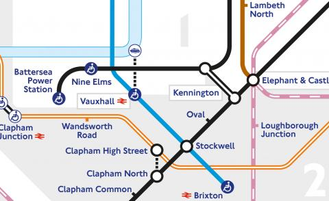 Detail of London Tube map with two new stations