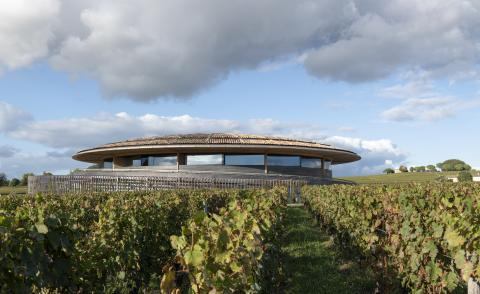 hero exterior of Le Dome winery by Foster