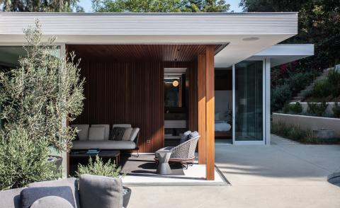 exterior view of cove way, a midcentury home restored by Sophie goineau