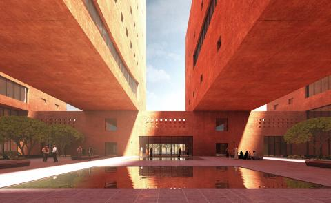courtyard with water at Africa Institute by David Adjaye