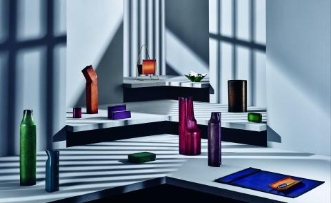 Berluti Home & Office Objects collection curated by Kris Van Assche, including pieces by Werkstätte Carl Auböck, Afra and Tobia Scarpa, and Simon Hasan (landscape)