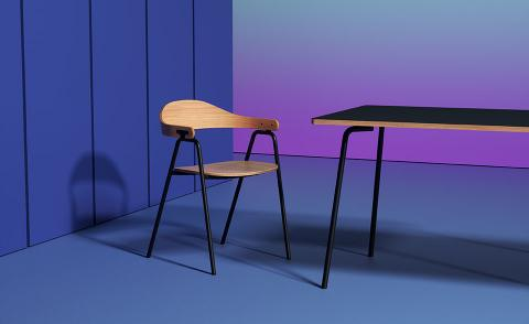 Black and wood dining chair and table on blue and purple background