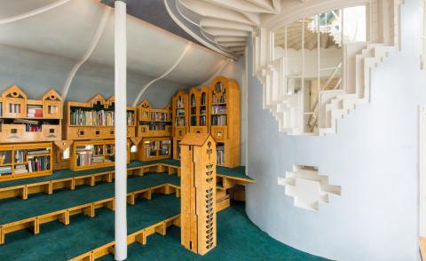 library at Charles Jencks' Cosmic House which is now turned into museum