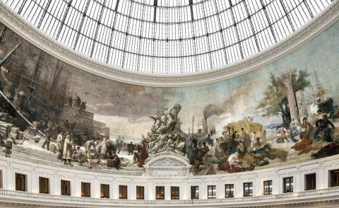 The central dome and mural around it are one of the Bourse's most defining building features