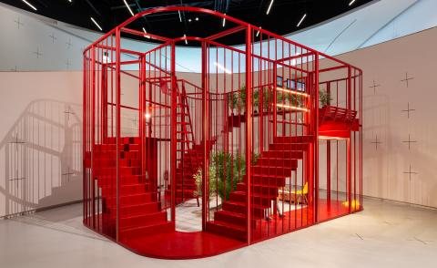 X Is Not A Small Country exhibition, red architectural installation