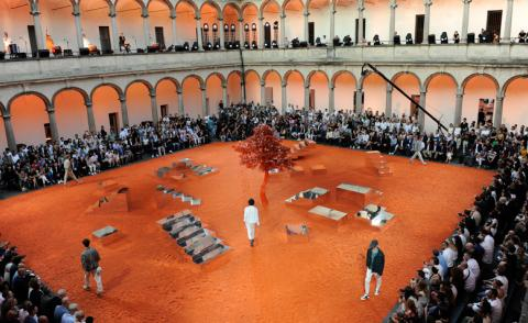 Behind the set: Alessandro Sartori holds court inside a historic courtyard for Ermenegildo Zegna Couture S/S 2018