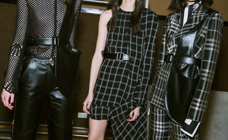 Models can be seen wearing monochrome tailoring, with textures such as leather, mesh and silk