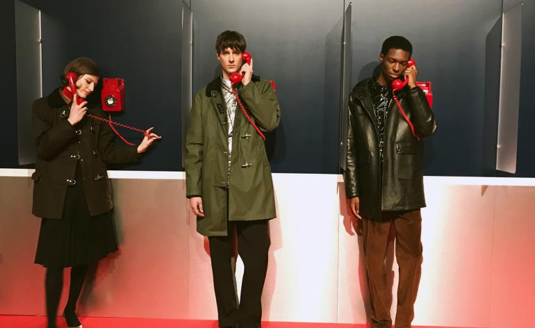 Models wear tailored trousers, rain coats and corduoroy trousers