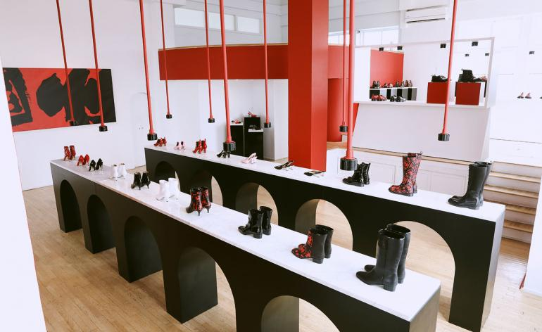 Paul Andrew presents a black, white and red footwear collection in New Yor