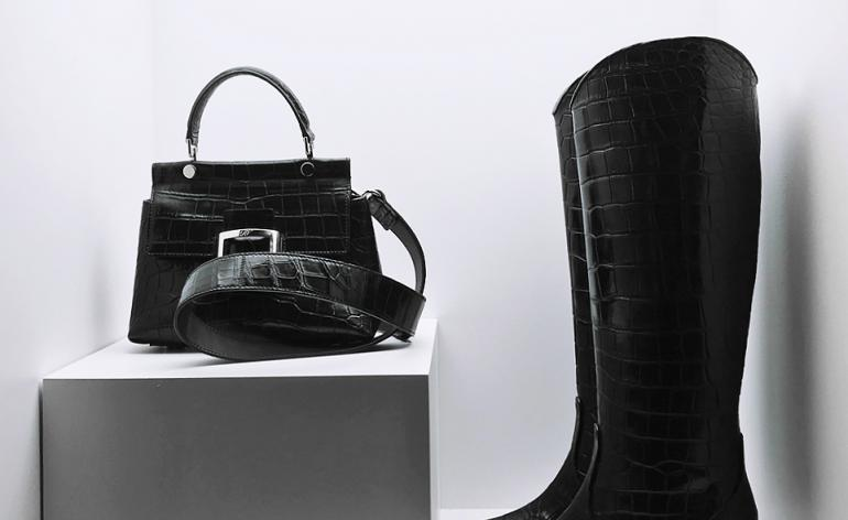 Black patented snakeskin boots and bag