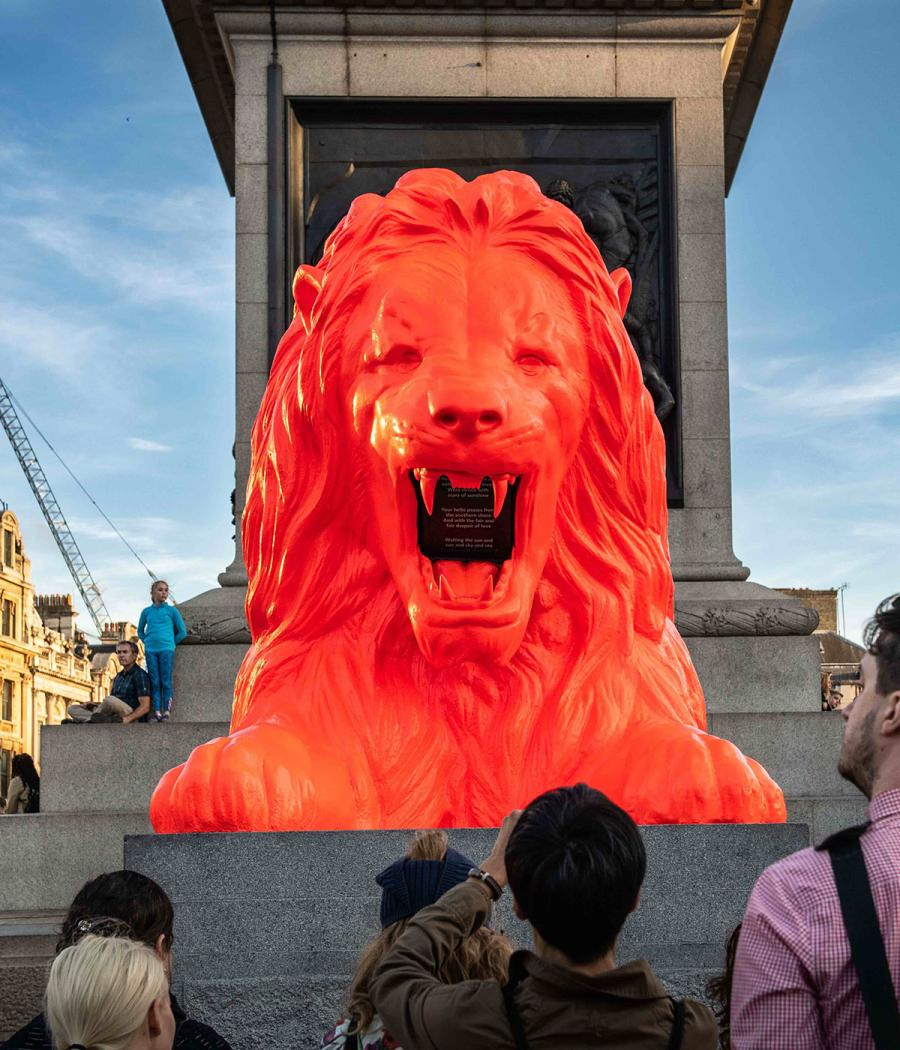 Please Feed The Lions by Es Devlin at Trafalgar Square, London