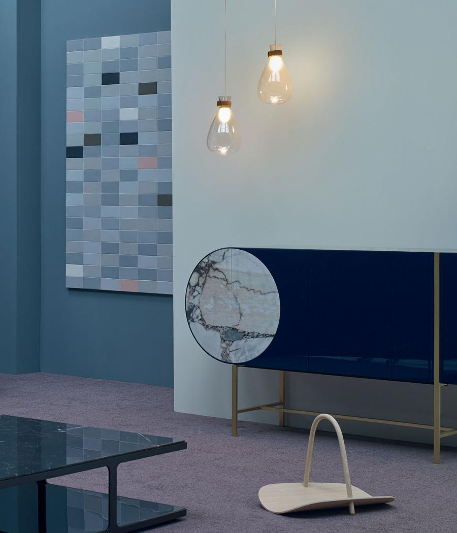 Selene' sideboard by Hagit Pincovici, 'Soffi' pendants by GamFratesi, Basket by Benjamin Hubert