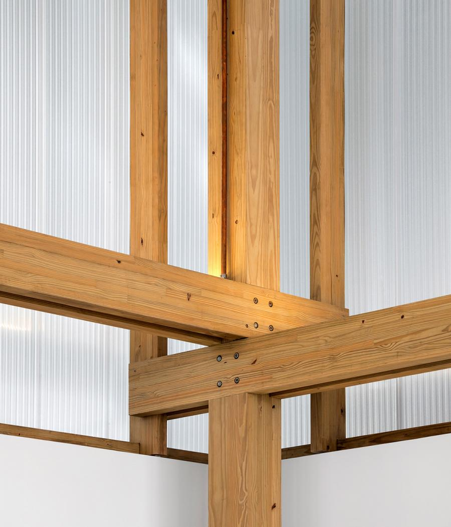 The sustainable timber frame of the Marcio Kogan-designed Volume C, for Micasa