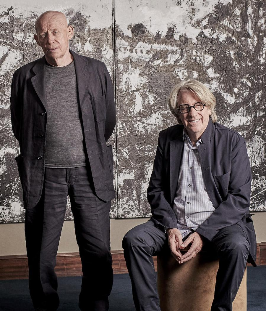Artist John Virtue and art collector Frank Cohen in front of Virtue's Landscape No. 174