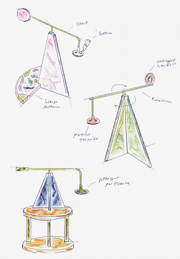 Sketch of 'Essenziale' scent diffusers by Ilaria Bianchi, Ostens and Il Marmo