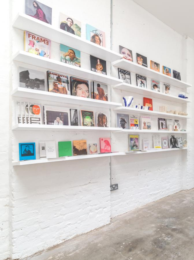 Something & Son 50m pop-up shop, features a colourful bookcase