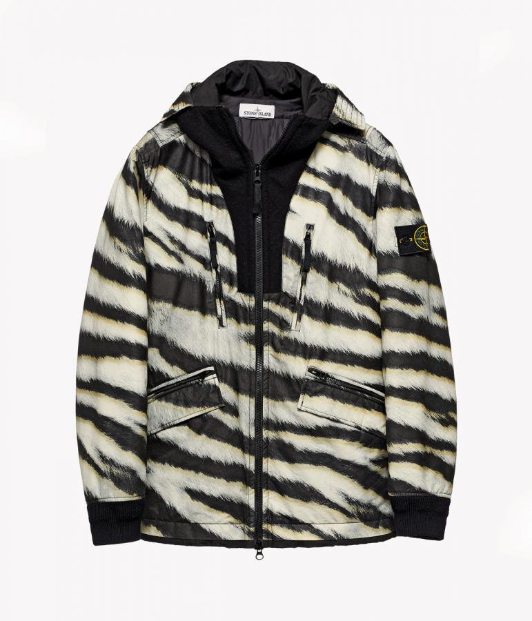 Stone Island white tiger camouflage-like pattern jacket