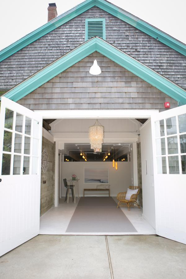 Exterior of the refurbished barn hosting The Class by Taryn Toomey, Bridgehampton, USA