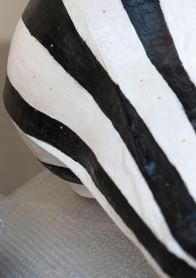 Anthea Hamilton The Squash black and white striped mask