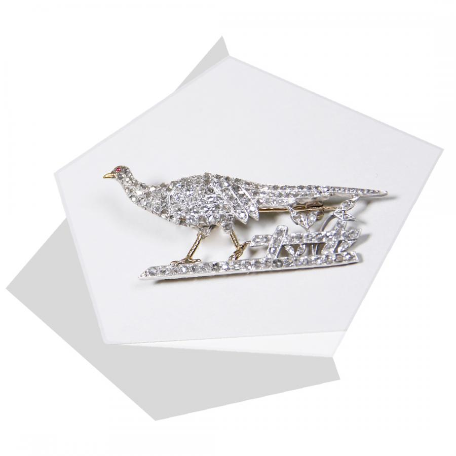 Diamond Pheasant Brooch from Bentley & Skinner