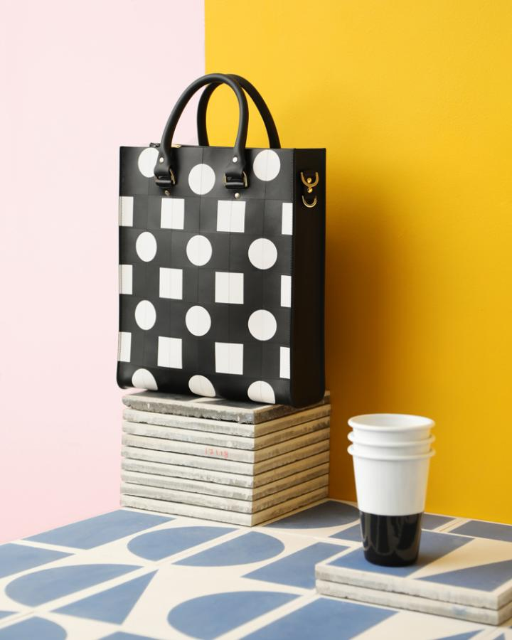 Sophie Hulme x Darkroom black and white square are circle bag