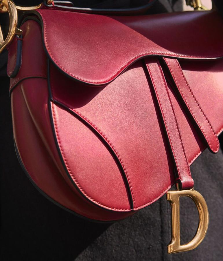 Dior red leather saddle bag