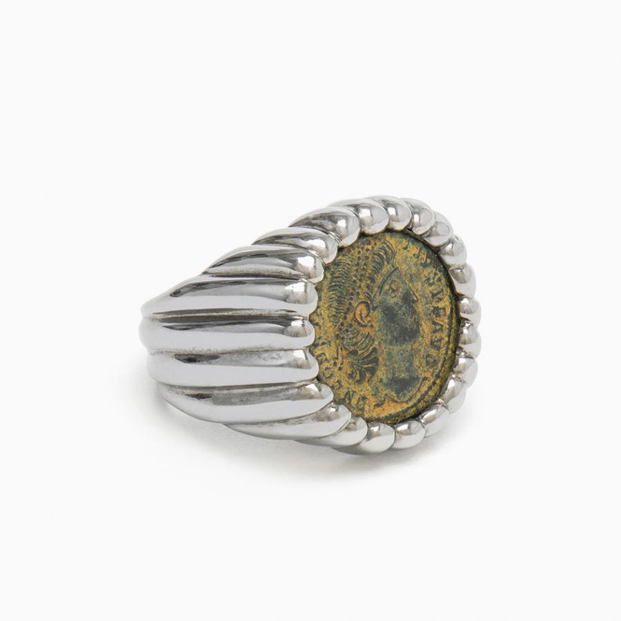 Dubini Constantine Ring with antique bronze coin and Baccellato details