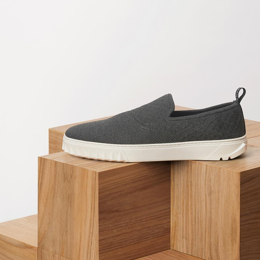 Grey slip on sneaker from Salvatore Ferragamo's 'Cube' sneaker collection