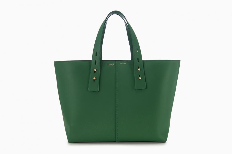 Frame 'Les Second' tote bag in green with detachable handles