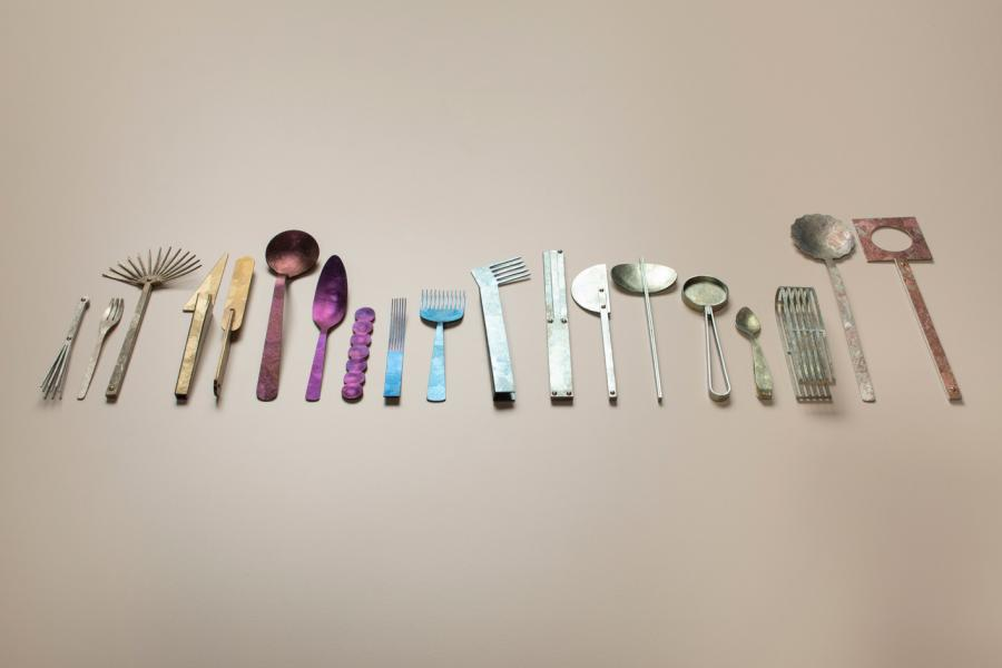 'Family' crystal titanium cutlery by Studio Word and Architectural Titanium