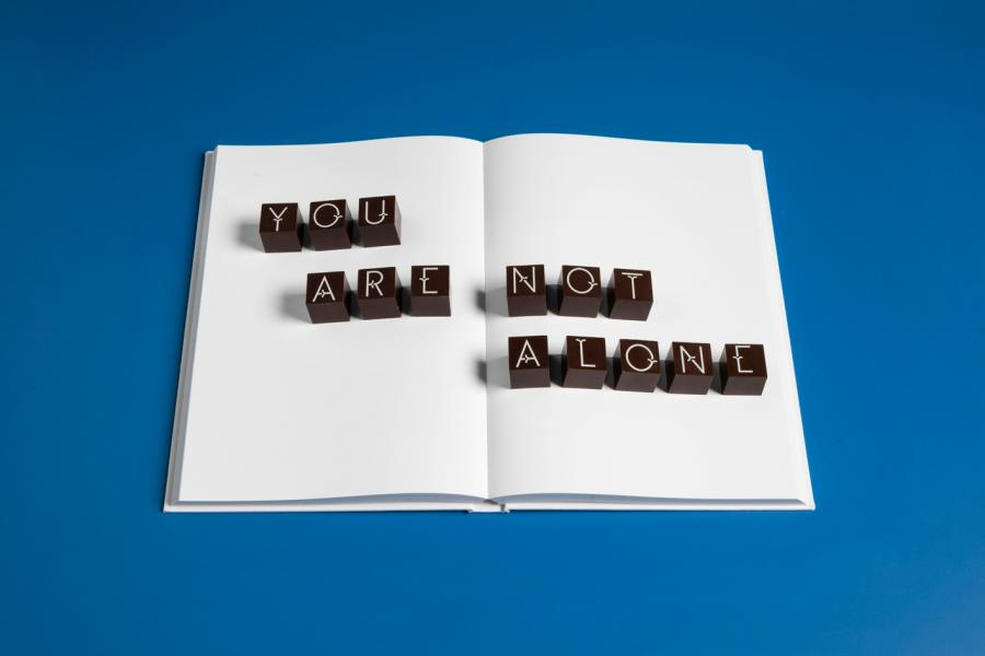 'You are not alone'chocolates by Studio Frith and Coco Chocolatier