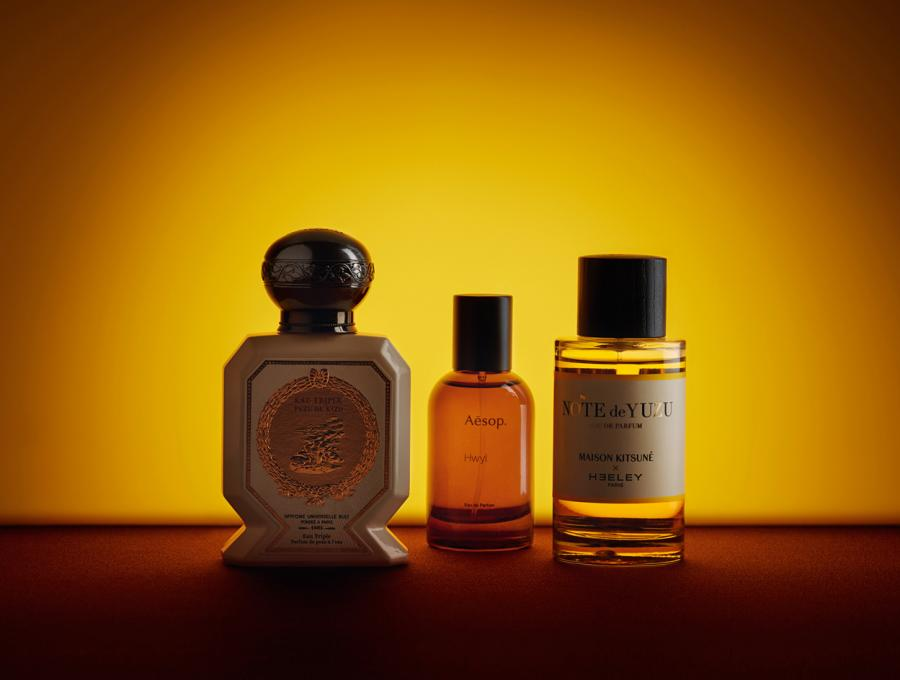 Eau Truple Kiso Yuzu, by Buly 1803; Hwyl, by Aesop; Note de Yuzu, by Heeley Parfums, for Maison Kitsuné, from Liberty