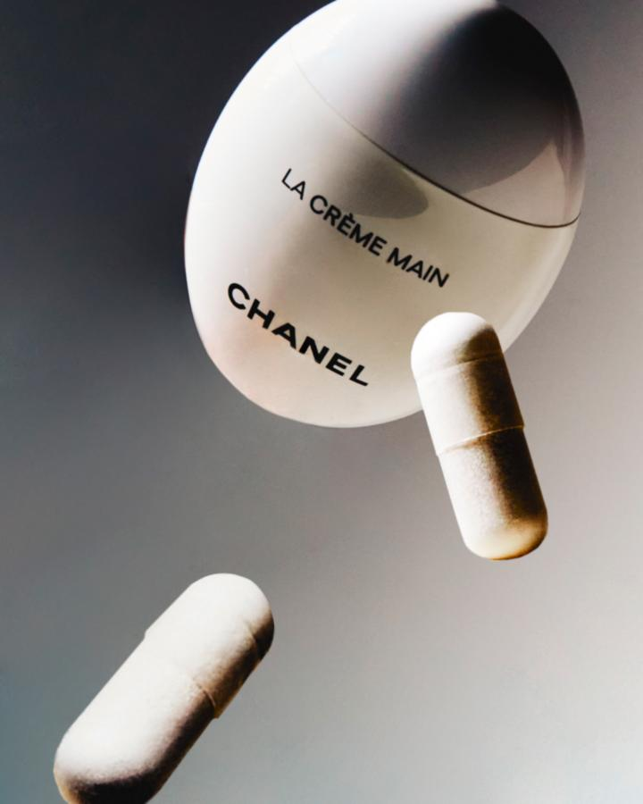 white chanel cream and white supplement pills