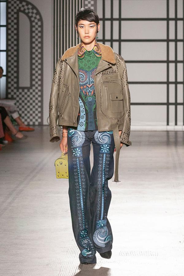 Holly Dalton runway look featuring an embellished leather jacket