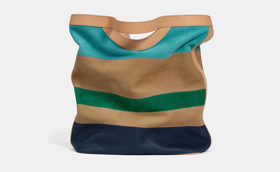 Max V Koenig large 'Orion' bag in sandy, bright blue and green stripes