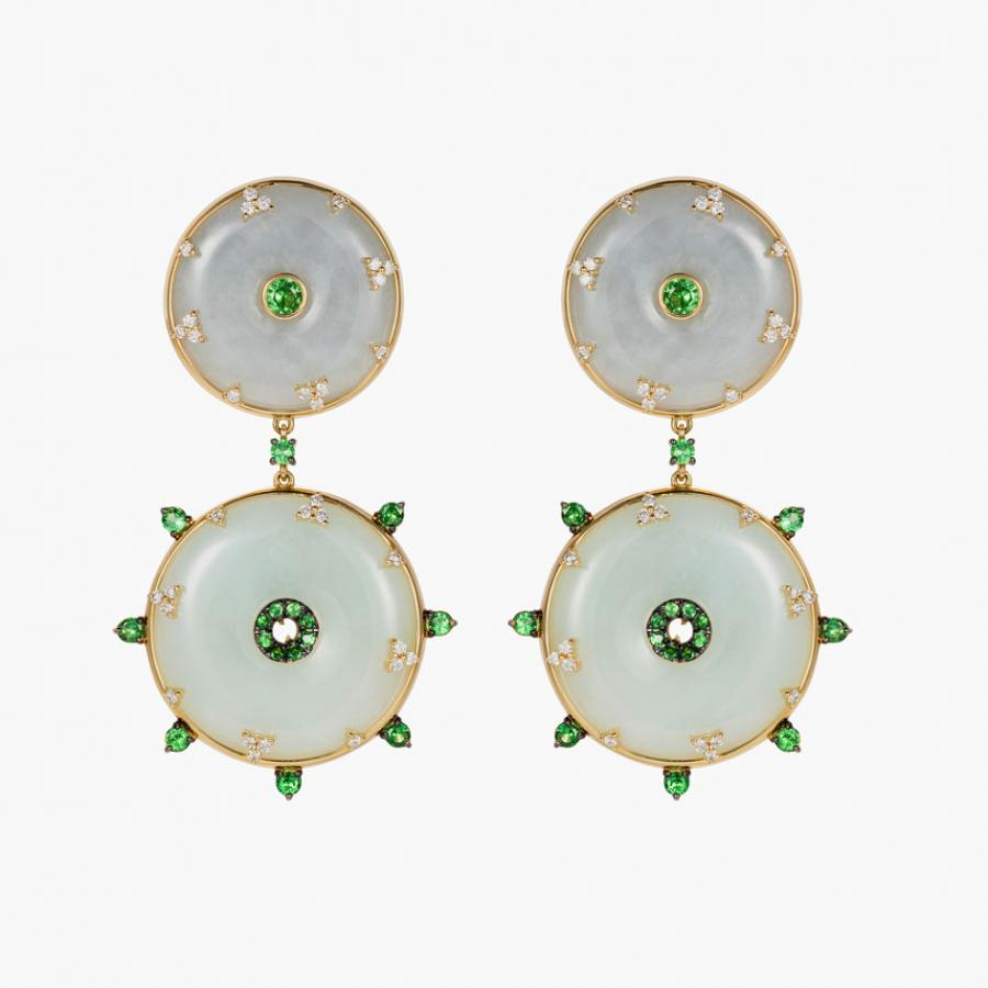 Nadine Aysoy jade, tsavorite and diamond drop earrings