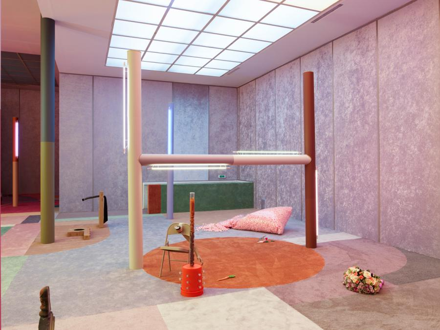 New Oscar Wilde met Wes Anderson in the fantasy world of Alex Da Corte for an exhibition earlier this year Pictured installation view of uSlow Graffiti u at