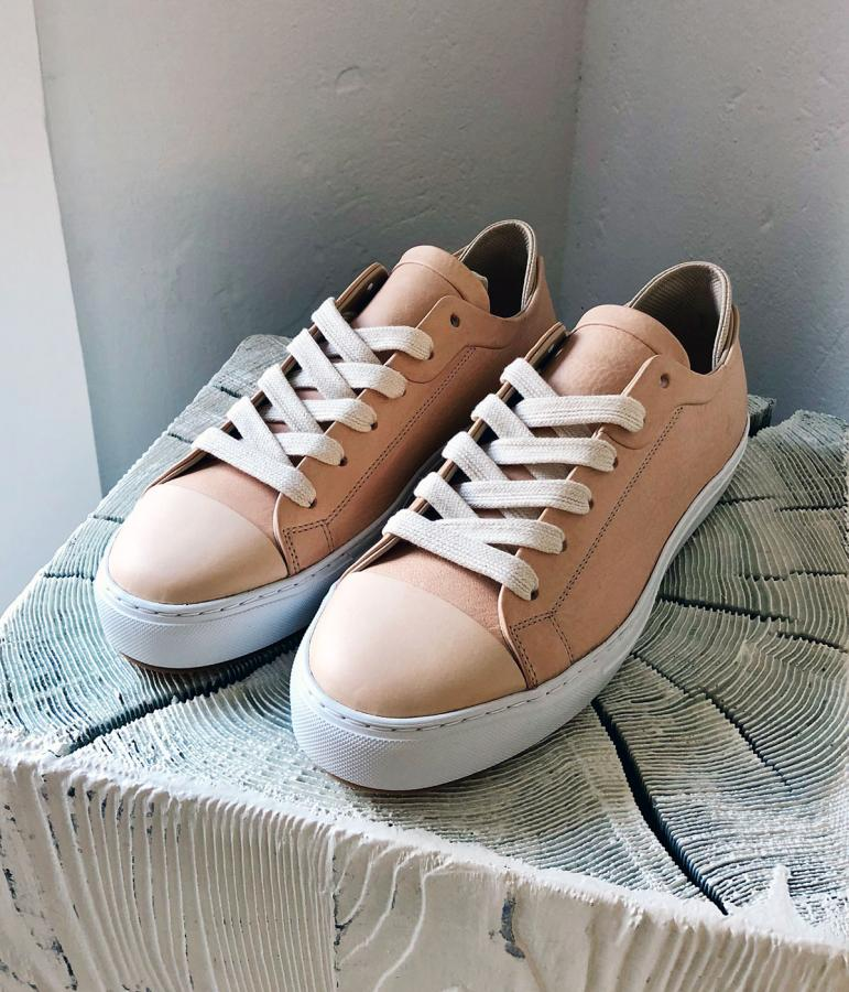 No One beige bespoke trainers