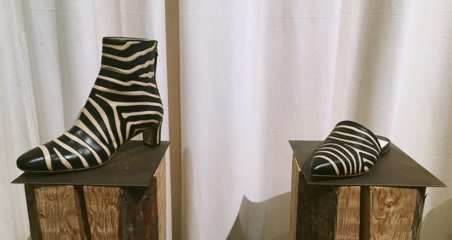Francesco Russo: a zebra print boot can be seen with matching slip-on