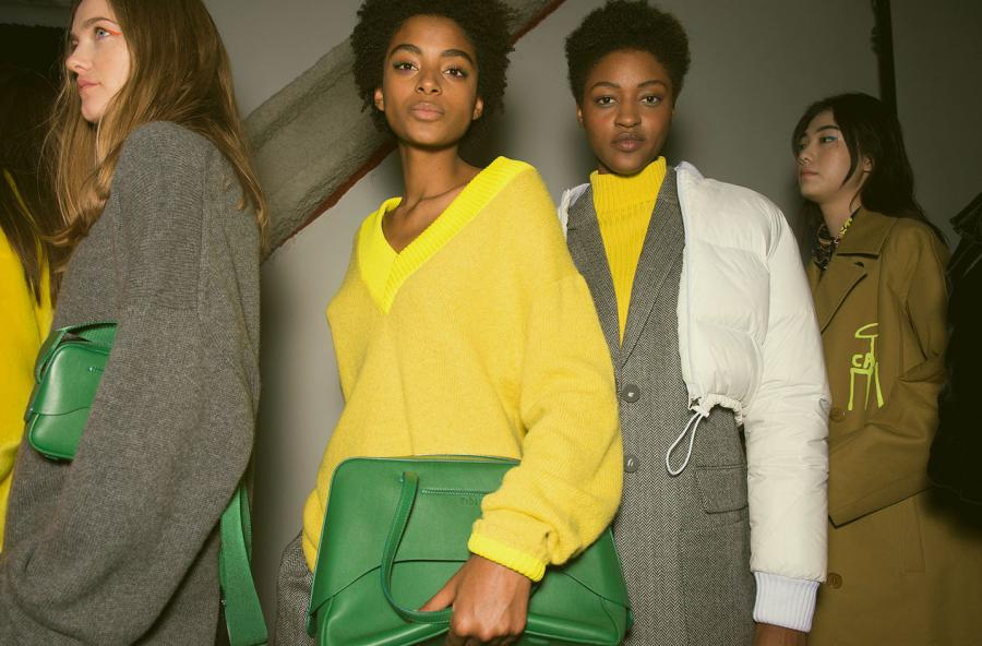 Bold knitwear, accessories and grey tailoring at Tibi A/W 2018