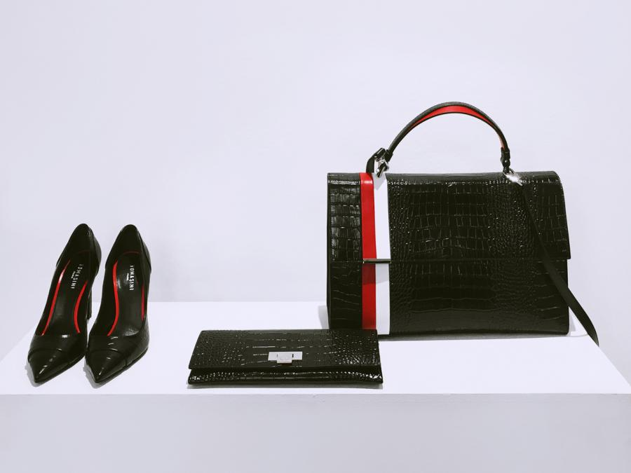 Black snake skin bag, purse and shoes with red and white stripe
