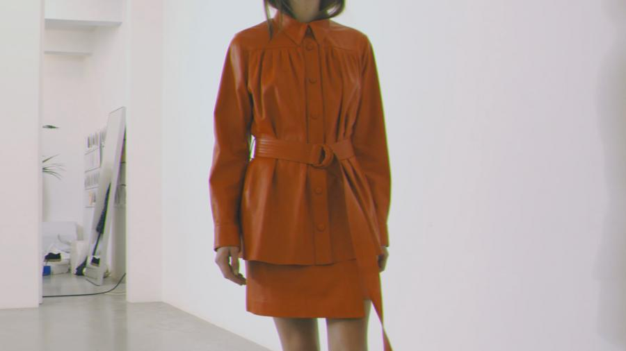 Stand leather wrap coat in orange