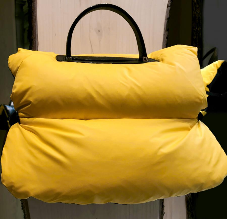 Yellow oversized puffer bag