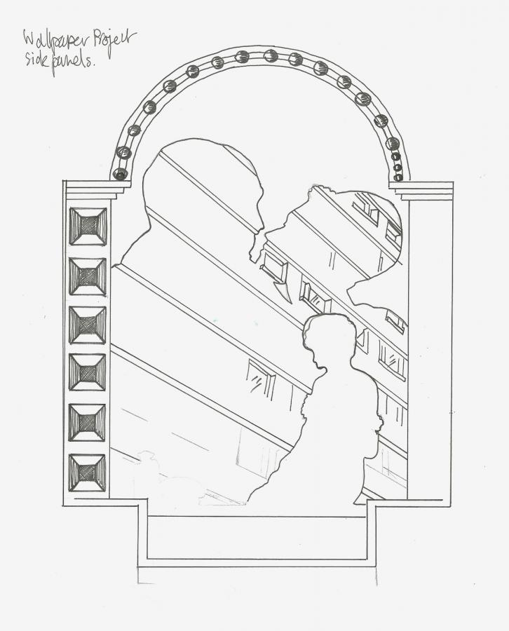 Sketch of 'Across the Board' mirror by Laura Lees and Another Brand