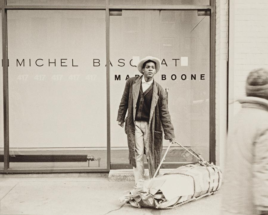 Jean-Michel Basquiat outside the Mary Boone Gallery on West Broadway, March 9, 1985