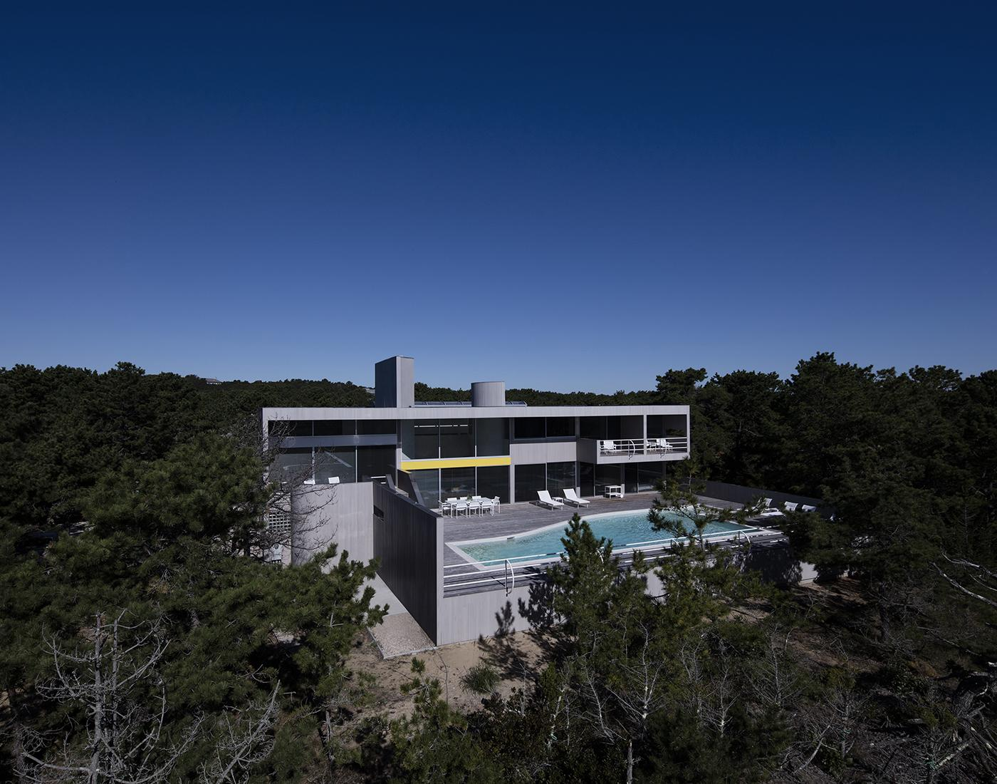 House in the Dune by Worrell Yeung, aerial overview
