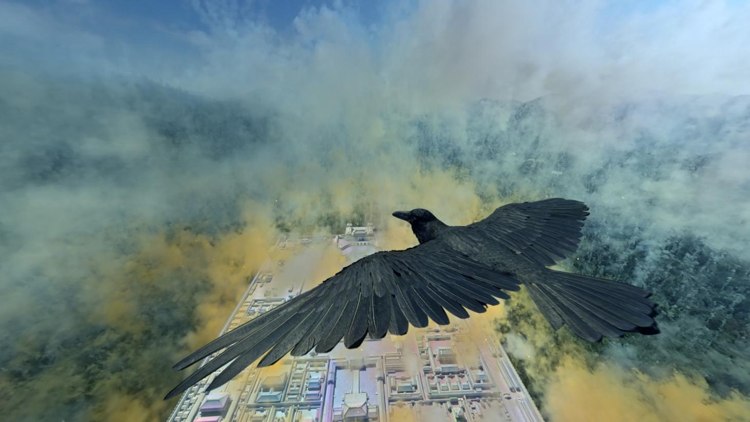 Still from Cai Guo-Qiang's Sleepwalking in the Forbidden City showing a crow soaring above coloured smoke